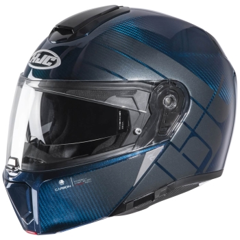 HJC RPHA 90S CARBON BALIAN Flip-Up Integral Helmet from Carbon - blue silver